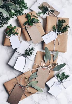 Greenery spruces up kraft paper