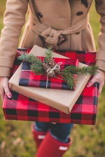 Buffalo Plaid Wrapping - Looks beautiful with a touch of greenery.