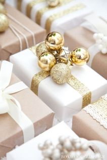 White & Gold Wrapping - Love the elegant touch of the ornaments.